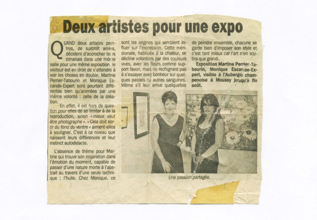 Deux artistes pour une expo - Exposition à l'Auberge champenoise à Moussy